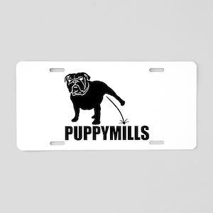 BULLDOG [pee on] PUPPYMILLS Aluminum License Plate